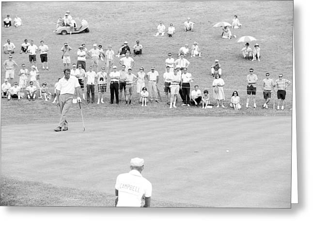 Us Open Golf Greeting Cards - Arnold Palmer waits at 1964 US Open at Congressional Country Club Greeting Card by Jan Faul