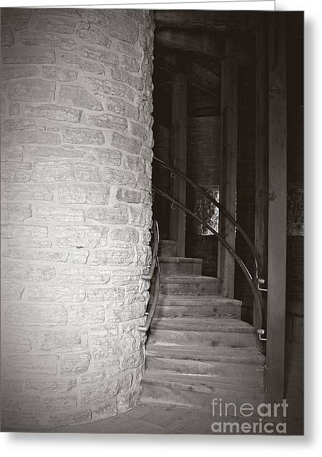Wooden Stairs Greeting Cards - Around the Corner Greeting Card by Giliane Mansfeldt