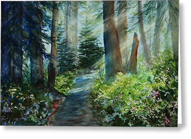 Fir Trees Greeting Cards - Around The Path Greeting Card by Kerri Ligatich