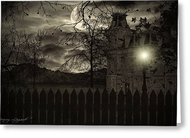 Haunted House Digital Art Greeting Cards - Arrival Greeting Card by Lourry Legarde