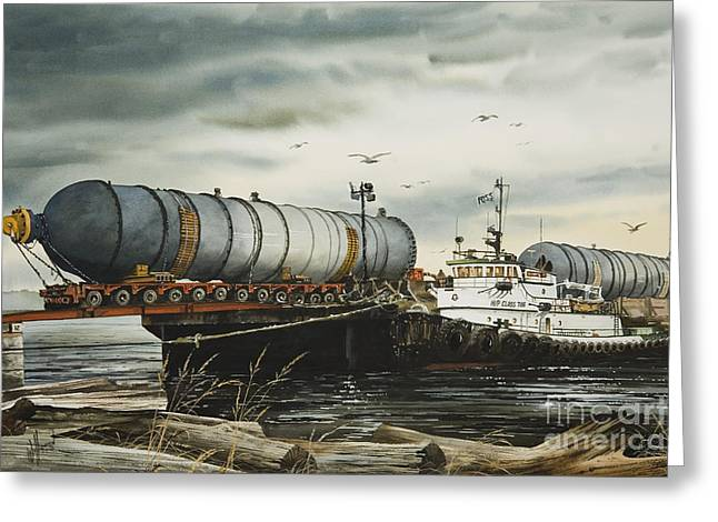Barges Greeting Cards Greeting Cards - Arrival of Reactor Vessels Greeting Card by James Williamson