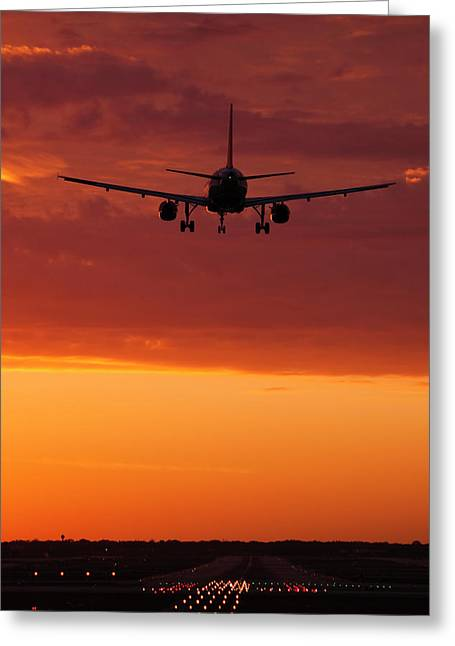 Plane Art Greeting Cards - Arriving at Days End Greeting Card by Andrew Soundarajan