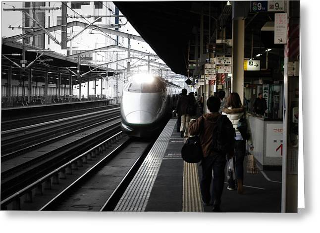 Train Stations Greeting Cards - Arriving Train Greeting Card by Naxart Studio