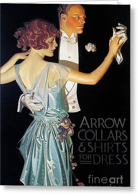 1923 Greeting Cards - Arrow Shirt Collar Ad, 1923 Greeting Card by Granger