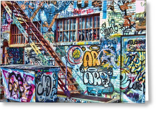 Alley Stairs Greeting Cards - Art Alley 2 Greeting Card by Adam Vance