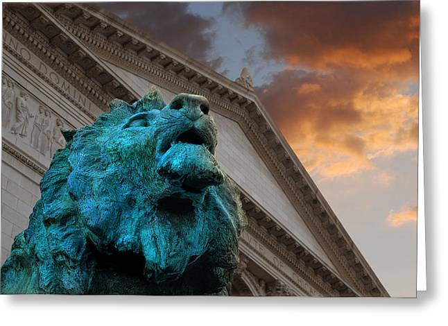 Art Museum Greeting Cards - Art and Lions Greeting Card by Anthony Citro
