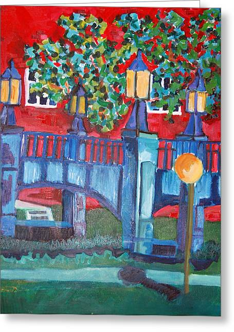 Jame Hayes Paintings Greeting Cards - Art Bridge - University of Iowa Greeting Card by Jame Hayes