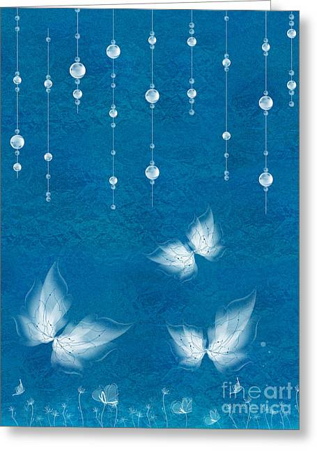 Blue Butterfly Greeting Cards - Art en Blanc - s11dt01 Greeting Card by Variance Collections