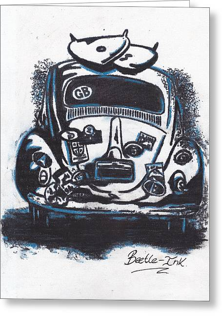 Vw Beetle Pastels Greeting Cards - Art-Haus-Ink Greeting Card by Sharon Poulton