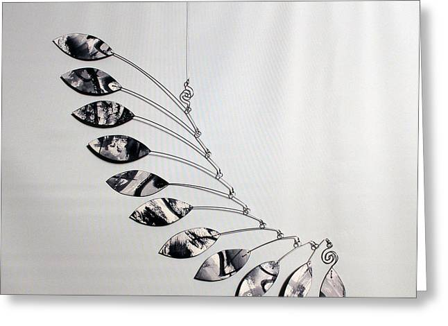 Ceiling Mobile Greeting Cards - Art Mobile Kinetic Sculpture Greeting Card by Carolyn Weir