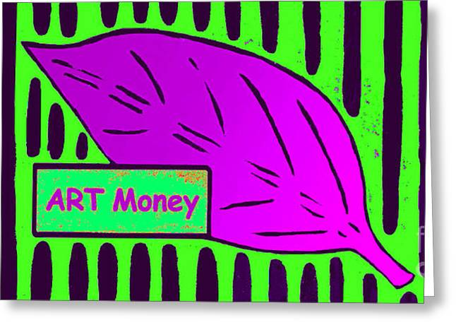 Block Print Art Mixed Media Greeting Cards - ART Money Greeting Card by Bill  Thomson