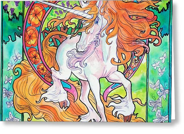 Art nuevo unicorn Greeting Card by Jenn Cunningham