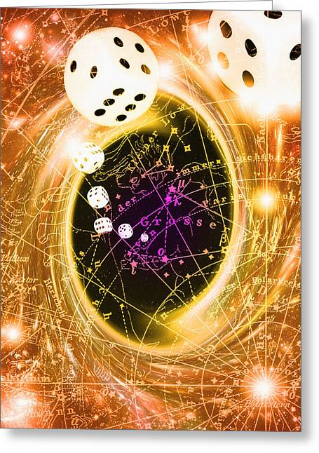 Art Of Dice, A Black Hole And Chance Greeting Card by Mehau Kulyk