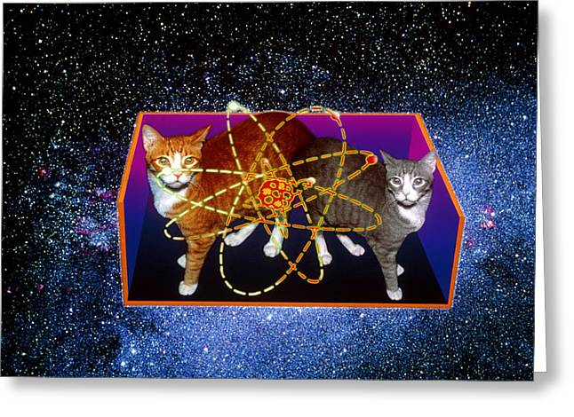 Experiment Greeting Cards - Art Of Schrodingers Cat Experiment Greeting Card by Volker Steger