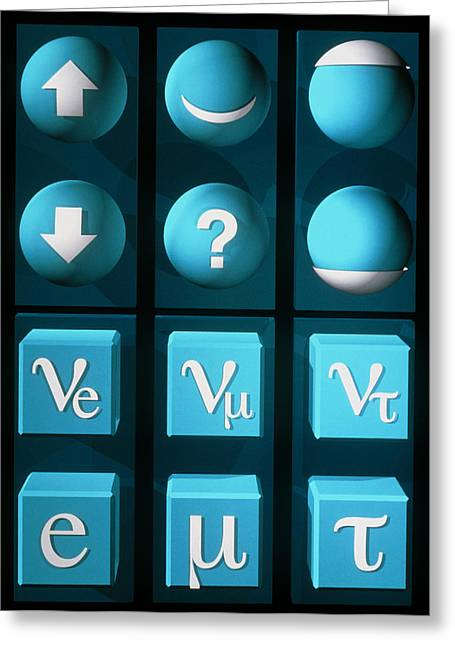 Quark Greeting Cards - Art Of Table Of Types Of Quarks And Leptons Greeting Card by Laguna Design