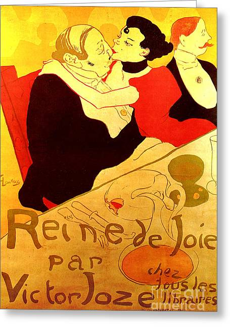 Henri De Toulouse-lautrec Paintings Greeting Cards - Art Poster Greeting Card by Pg Reproductions