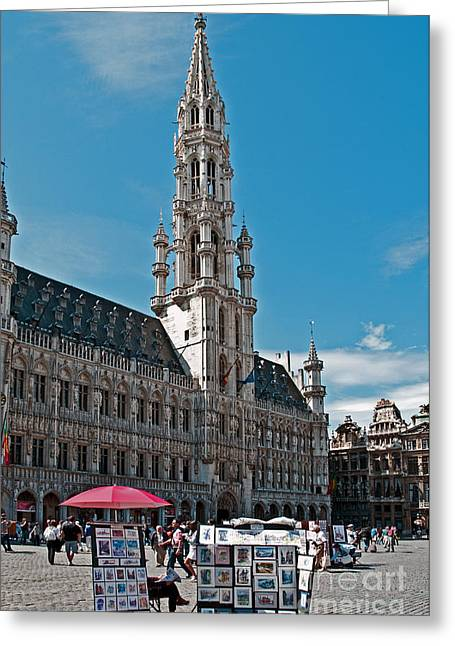 Municipality Greeting Cards - Art reflecting Art in Brussels Greeting Card by Jim Chamberlain