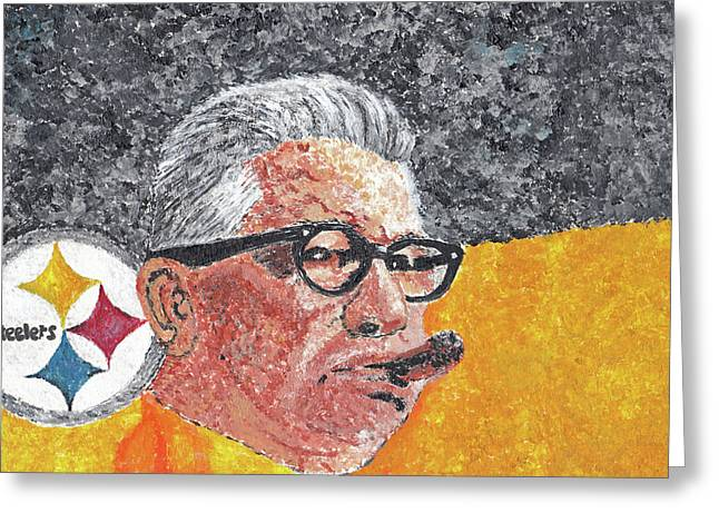 Heinz Paintings Greeting Cards - Art Rooney Greeting Card by William Bowers