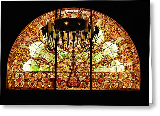 Tennessee Landmark Greeting Cards - Artful Stained Glass Window Union Station Hotel Nashville Greeting Card by Susanne Van Hulst