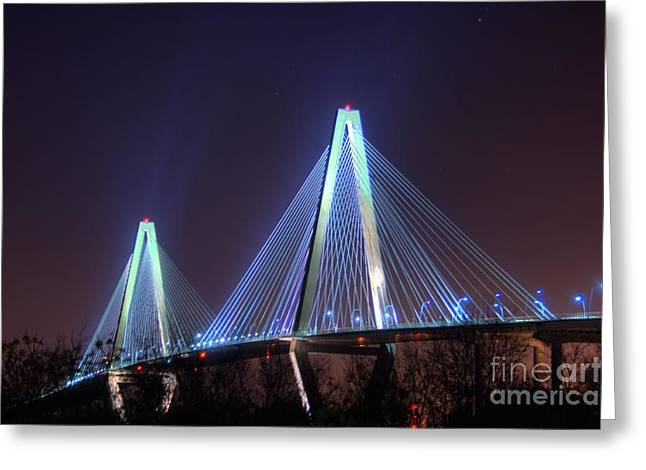 Photographers College Park Greeting Cards - Arthur Ravenel Bridge Greeting Card by Corky Willis Atlanta Photography