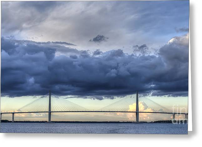 Cable-stayed Bridge Greeting Cards - Arthur Ravenel Jr Bridge Charleston SC Cooper River Storm Clouds Greeting Card by Dustin K Ryan