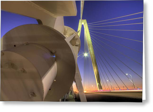 Ravenel Greeting Cards - Arthur Ravenel Jr. Bridge Charleston SC Greeting Card by Dustin K Ryan
