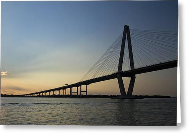 Charleston Greeting Cards - Arthur Ravenel Jr Bridge over the Cooper River Charleston SC Greeting Card by Dustin K Ryan