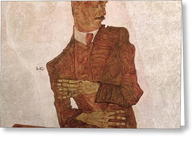 Signature Greeting Cards - Arthur Roessler Greeting Card by Egon Schiele