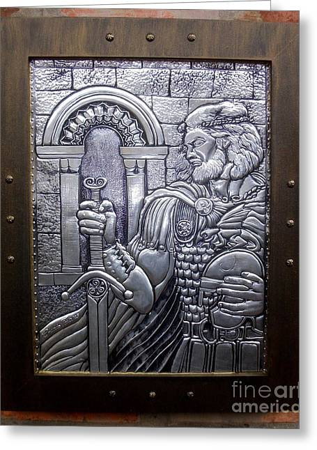 Medieval Reliefs Greeting Cards - Arthur The King Greeting Card by Cacaio Tavares