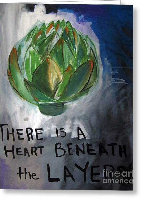 Blue-gray Greeting Cards - Artichoke Greeting Card by Linda Woods
