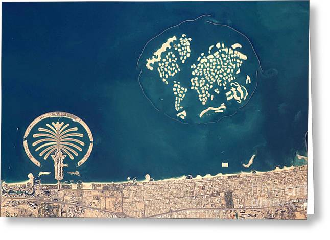 Aerial Photograph Greeting Cards - Artificial Archipelagos, Dubai, United Greeting Card by NASA/Science Source