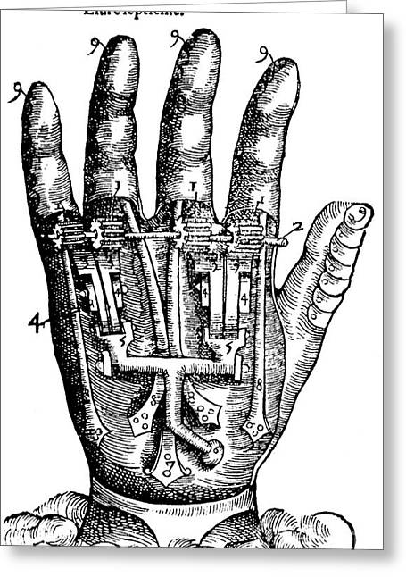 Ligature Greeting Cards - Artificial Hand Designed By Ambroise Greeting Card by Science Source