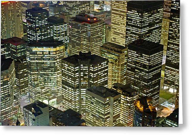 City Lights And Lighting Greeting Cards - Artificial Light From Buildings Greeting Card by Jim Richardson