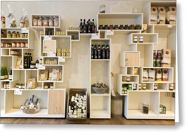 Hamper Greeting Cards - Artisan Product Shelves In A Country Greeting Card by Corepics