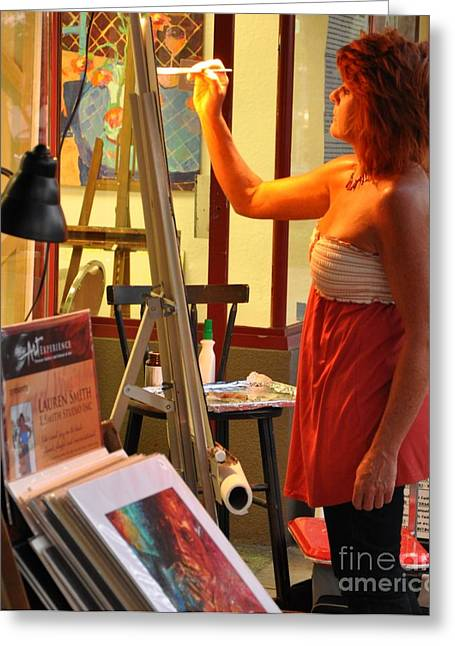 Painter At Work Greeting Cards - Artist at Work Greeting Card by Rose  Hill