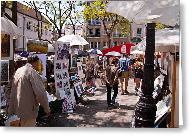 Artists Colony Greeting Cards - Artist colony of Montmartre Greeting Card by Jon Berghoff