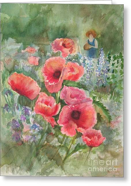 Griswold Ct Paintings Greeting Cards - Artist in the Garden Greeting Card by B Rossitto