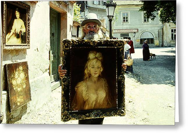 Old Street Greeting Cards - Artist on the street Greeting Card by Emanuel Tanjala