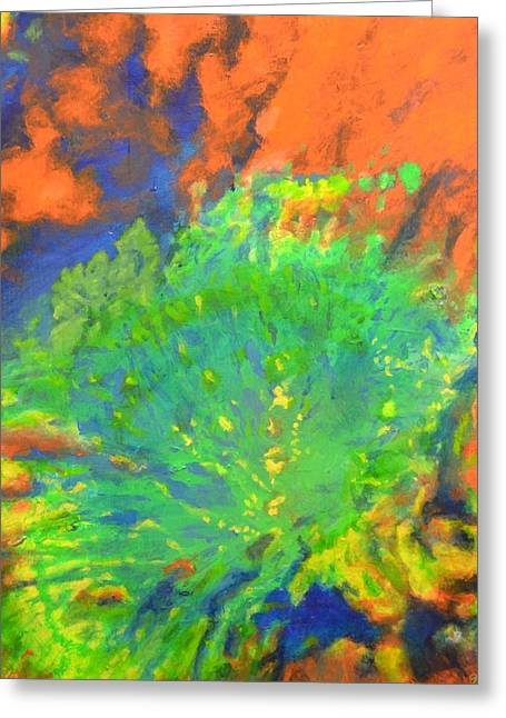 Craters Paintings Greeting Cards - Artistarchus Crater on Moon in reverse color Greeting Card by Jim Ellis