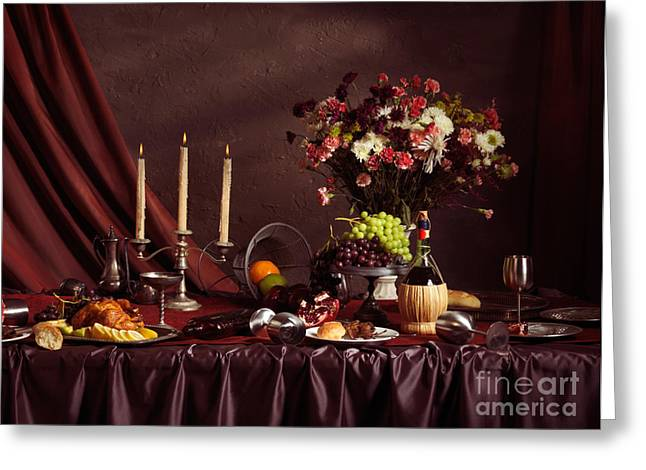 Table Wine Greeting Cards - Artistic Food Still Life Greeting Card by Oleksiy Maksymenko