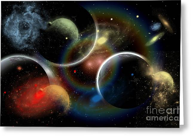 Cosmic Collision Greeting Cards - Artists Concept Illustrating The Edge Greeting Card by Mark Stevenson