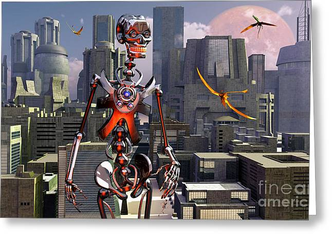 Toothy Smile Greeting Cards - Artists Concept Of A City Of The Future Greeting Card by Mark Stevenson