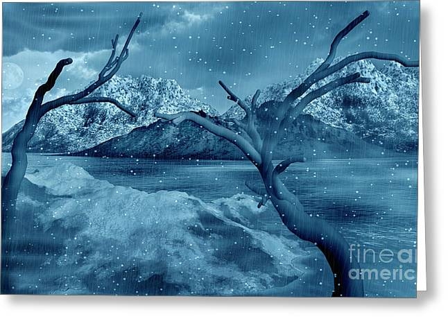 Snow-covered Landscape Digital Greeting Cards - Artists Concept Of A Dangerous Snow Greeting Card by Mark Stevenson