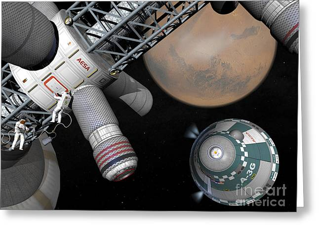 Space Probes Greeting Cards - Artists Concept Of A Future Space Greeting Card by Walter Myers