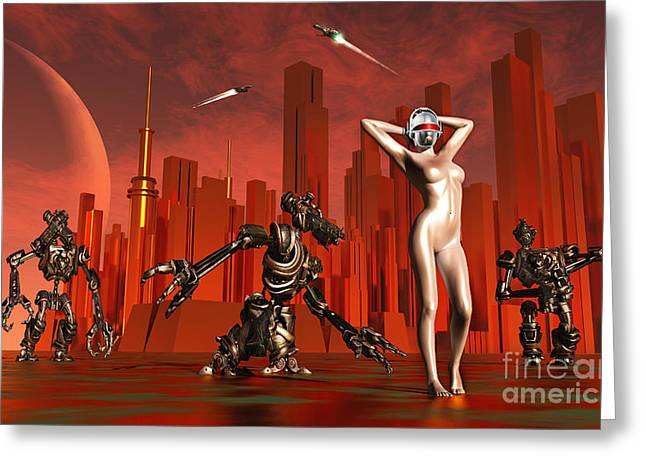 Hands Behind Head Greeting Cards - Artists Concept Of A Hot Pinup Pleasure Greeting Card by Mark Stevenson