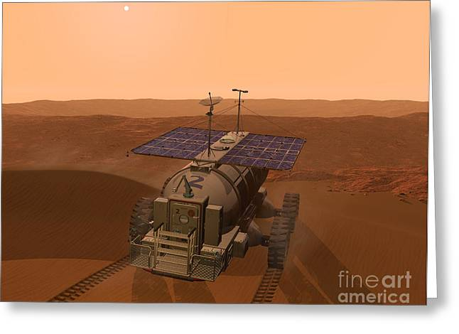 Space Probes Greeting Cards - Artists Concept Of A Martian Rover Greeting Card by Walter Myers