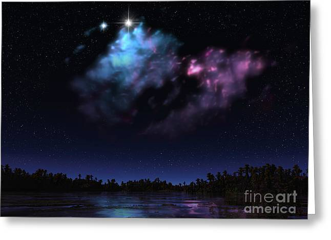 Colorful Cloud Formations Digital Greeting Cards - Artists Concept Of A Nebula Greeting Card by Walter Myers