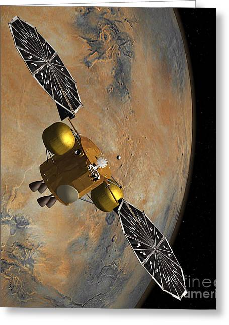 Planet Mars Greeting Cards - Artists Concept Of A Spacecraft Greeting Card by Stocktrek Images
