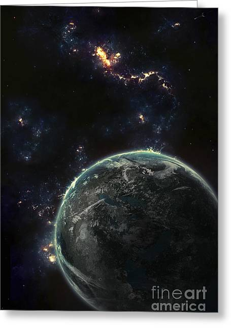 Artists Concept Of A Terrestrial Planet Greeting Card by Tomasz Dabrowski