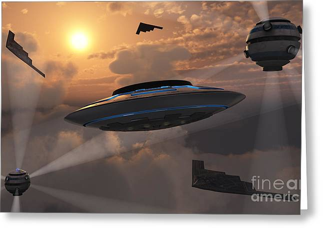 Probe Greeting Cards - Artists Concept Of Alien Stealth Greeting Card by Mark Stevenson
